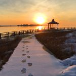 Footprints in the Snow at Indian River Inlet by Nancy Hedgespeth